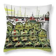 Lobster Pots Kilmore Quay, Wexford, Ireland Poster Effect 1b Throw Pillow