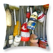 Lobster Trap Buoys 1 Throw Pillow