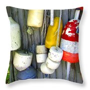 Lobster Trap Buoys 2 Throw Pillow