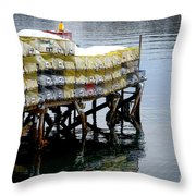 Lobster Traps In Winter Throw Pillow