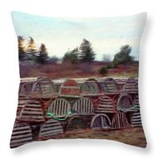 Lobster Traps Throw Pillow by Jeff Kolker