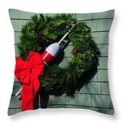 Lobsterman's Christmas Wreath Throw Pillow