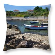 Local Boats In Harbour Throw Pillow