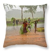 Local People Crossing The Road In Malawi Throw Pillow