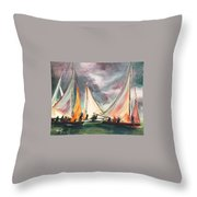 Locals At Sea Throw Pillow