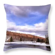Lock And Dam Snowscape Throw Pillow