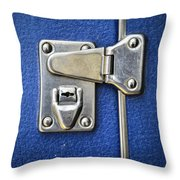 Lock On A Blue Suitcase Throw Pillow
