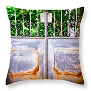 Locked Gate With Trees Throw Pillow
