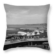 Lockheed Constellation Plane Fueling Up Throw Pillow