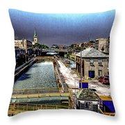 Lockport Canal Locks Throw Pillow