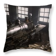 Locomotive Repair Shop - December 1942 Throw Pillow