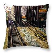 Locomotive Tracks Throw Pillow