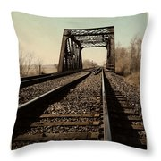 Locomotive Truss Bridge Throw Pillow
