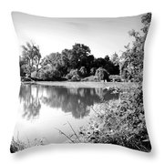 Lodi Pig Lake Reflections B And W Throw Pillow