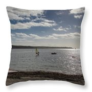 Loe Beach Windsurfers Throw Pillow