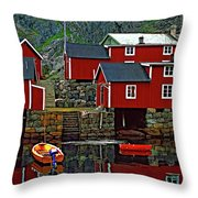 Lofoten Fishing Huts Oil Throw Pillow