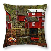 Lofoten Fishing Huts Overlay Version Throw Pillow