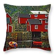 Lofoten Fishing Huts Throw Pillow