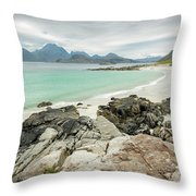Lofoten Island Beach Scene Throw Pillow