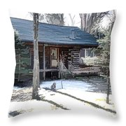 Log Cabin 2 Throw Pillow