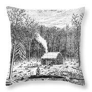 Log Cabin, C1800 Throw Pillow