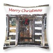 Log Cabin Christmas Throw Pillow