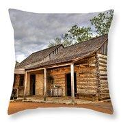Log Cabin In Lbj State Park Throw Pillow