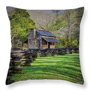 Log Cabin, Smoky Mountains, Tennessee Throw Pillow