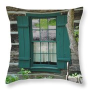 Log Cabin Window Throw Pillow