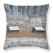 Log Cabins In Valley Forge Throw Pillow