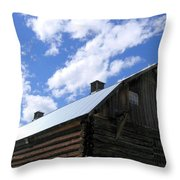 Log Clydesdale Barn Throw Pillow