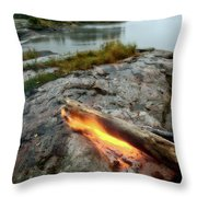 Log On Fire Manitoba Lake Wilderness Throw Pillow
