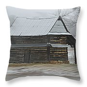 Log Tabacco Shed Throw Pillow