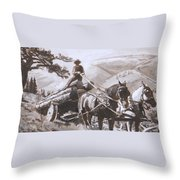 Log Wagon Historical Vignette Throw Pillow