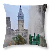 Logan Circle Fountain With City Hall In Backround 2 Throw Pillow