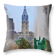 Logan Circle Fountain With City Hall In Backround 3 Throw Pillow