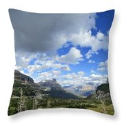 Logan Pass Panorama - Glacier National Park Throw Pillow