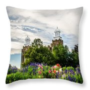 Logan Temple Flowers Throw Pillow