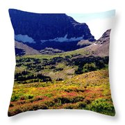 Logans Pass In Glacier National Park Throw Pillow