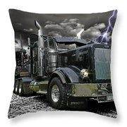 Logger On A Stormy Night Throw Pillow