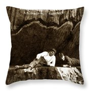 Logger With Ax On Springboard Loggers Sitting Inside Undercut  Circa 1890 Throw Pillow