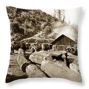 Logging With Oxen At A Saw Mill Sonoma County California Circa 1900 Throw Pillow