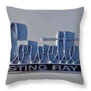 Logo Of 1966 Chevrolet Corvette Sting Ray 427 Turbo-jet Throw Pillow