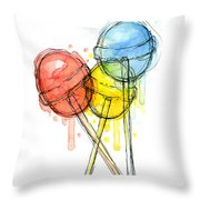 Lollipop Candy Watercolor Throw Pillow