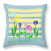 Lollipop Flower Bed Throw Pillow
