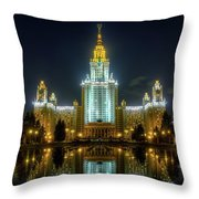 Lomonosov Moscow State University At Night Throw Pillow by Alexey Kljatov
