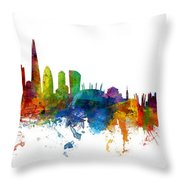 London And Warsaw Skylines Mashup Throw Pillow