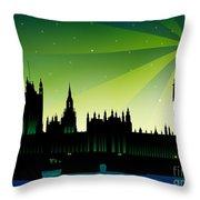 London Big Ben Throw Pillow by Sandra Hoefer