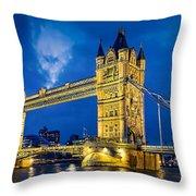 London Bridge Panorama Throw Pillow