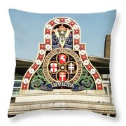 London Chatham And Dover Railway Crest With Invicta Motto Blackfriars Railway Station Throw Pillow